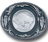 "Buffalo Coin Belt Buckle, Black Enamel, Diamond Cut  3-1/8"" x 2-1/2"""