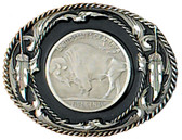 Buffalo Coin Belt Buckle, Black Enamel, Diamond Cut