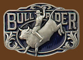 "Bullrider Belt Buckle, 3"" x 2-1/4"""