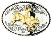 "Bullrider Belt Buckle, 3-1/2"" x 2-1/2"""