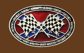 "Checkered Flag Rebel Belt Buckle, 3-3/4"" x 2-1/4"""