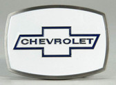 Chevrolet Belt Buckle, White Enamel Background