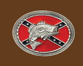 Confederate Flag Belt Buckle with Fish 53717