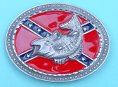 "Confederate Flag Belt Buckle with Fish, 4"" x 3"""