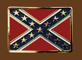 Confederate Flag Belt Buckle, 3-1/4 x 2-1/4  GOLD