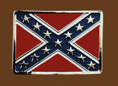 Confederate Flag Belt Buckle, 3-1/4 x 2-1/4  SILVER