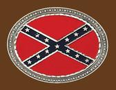 Confederate Flag Belt Buckle, Oval