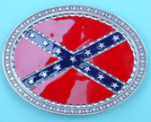 "Confederate Flag Belt Buckle, Oval, 4"" x 3"""