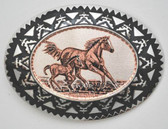 Copper Horses & Colt Belt Buckle