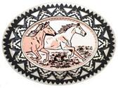 Copper Belt Buckle, 2 running horses