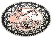 Copper Belt Buckle, 2 running horses 53421