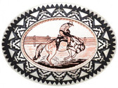 Copper Belt Buckle, Bronco Rider