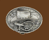 "Cowboy Hat & Spurs Belt Buckle, 3-3/8"" x 2-1/2"""