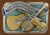 "Country Western Music Belt Buckle, 3-1/2"" x 2-1/2"""
