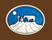 "Cowboy Praying Belt Buckle, Blue Enamel  3-1/2"" x 2-3/4"""