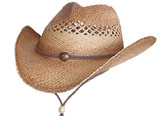 COUNTRY PINCHED FRONT WITH VENTED CROWN AND CHIN CORD, CONCHO Cowboy Hat BAND.