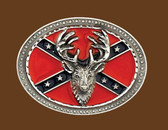 Deer Head Confederate Flag Belt Buckle 53718