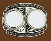 "Double Silver Dollar Belt Buckle, 4""x3"""