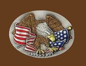 Eagle & USA Flag Belt Buckle,