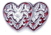 Double Heart, Red Enamel Belt Buckle
