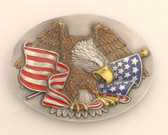 "Eagle & USA Flag Belt Buckle, 3"" x 2-1/2"""