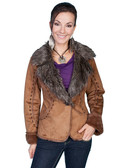 Fashionable Rust Faux Fur and Faux Suede Jacket