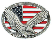Eagle on USA Flag Belt Buckle,