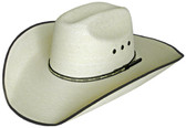 EXTRA FINE WHITE CATTLEMAN Cowboy Hat WITH FINE X TRIMED LEATHER Cowboy Hat BAND AND LARGE EYELETS WITH DARK BROWN BOUND EDGE