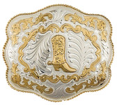 """Extra Large German Silver Boot Belt Buckle, 6"""" x 5"""""""