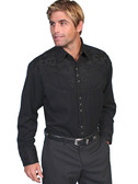 Embroidered Mens Western Shirts JET BLACK