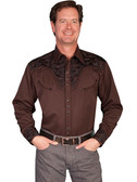Embroidered Mens Western Shirts CHOCOLATE