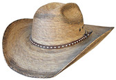 FINE BURNT PALM Cowboy Hat WITH X Cowboy HatBAND AND SOFT SWEATBAND