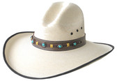 FINE WHITE PALM GUS STYLE WITH BROWN EDGE AND LEATHER Cowboy Hat BAND WITH TURQUOISE CONCHOS.