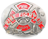 Fire Fighter Belt Buckle, Enameled