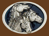 "3 Horse Heads/blue enamel Belt Buckle, 3-1/4"" x 2-1/4"""