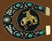 German Silver Bronco & Horseshoe Belt Buckle w/ Turquoise,