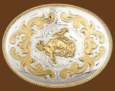 German Silver Bucking Bronco Belt Buckle