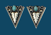 German Silver & Turquoise Collar Tips, Screw On