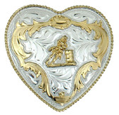 German Silver Barrel Racing Heart Belt Buckle
