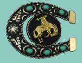 "German Silver Bronco &  HorseshoeBelt  Buckle with Turquoise, 3-1/4"" x 2-3/4"""