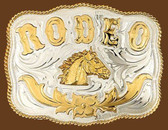 German Silver RODEO Horsehead Belt Buckle,