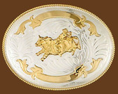 German Silver Bullrider Trophy Belt Buckle