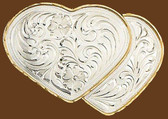 German Silver Double Heart Belt Buckle