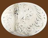 German Silver Engraved Oval Belt Buckle,