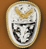 German Silver & Abalone Eagle Bolo Tie