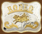 German Silver RODEO Bullrider Belt Buckle,