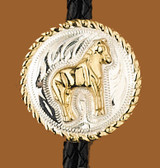 German Silver Standing Horse Bolo Tie