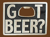 "Got Beer? Bottle Opener Belt Buckle, 3-1/4"" x 2-3/8"""