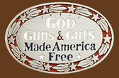 "God Guns & Guts Made America Free Belt Buckle, 3-1/4"" x 2-1/4"""