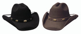Hop A Long felt cowboy hat by Bullhide® Hats.  Available in sizes S, M, L, XL.  Black or Chocolate
